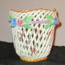 HAND PAINTED WEAVED LATTICE BASKET SIGNED VALENCIA, SPAIN
