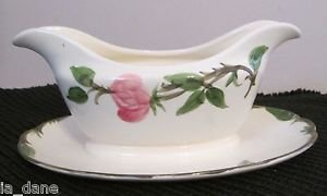 """FRANCISCAN """"DESERT ROSE"""" GRAVY BOAT ATTACHED UNDER PLATE (MADE IN U.S.A.) DISHES"""