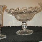 IMPERIAL CRYSTAL COMPOTE BOWL AND TWO MATCHING VASES.