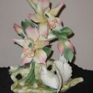 CAPODIMONTE FLOWER FLORAL WITH DOVE ITALY