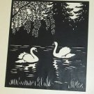 AISIAN JAPANEES CARVED PRINT  SWANS ON POND BLACK & WHITE