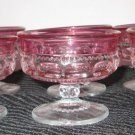 6 RUBY RED STAINED GLASS KINGS CROWN THUMB PRINT SHERBERT GOBLET