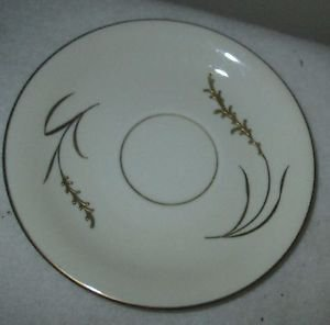 HERTEL JACOB BAVARIA GERMANY DEMITASSE  SAUCER WHITE WITH GOLD ACCENTED WHEAT