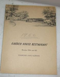 GARDEN HOUSE RESTAURANT MENU DIAMOND LAKE, IL  1956