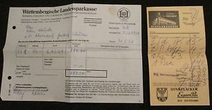 WURTTEMBERGISCHE LANDESSPARKASSE & DINKELACKER EXPORT RECEIPT STUTTGART,GERMANY