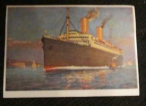 POSTCARD SHIP NORDDEUTSCHER LLOYD BREMEN COLUMBUS 1940 ERA UNUSED IN COLOR