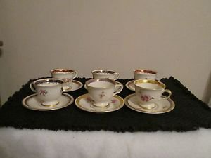 6 VINTAGE COLLECTIBLE PICKARD CHINA GOLD HAND PAINTED DECORATED PLATE TEA C & S