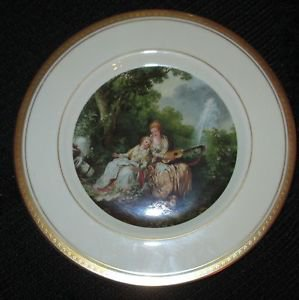 VINTAGE COLLECTIBLE PICKARD CHINA  GOLD HAND PAINTED DECORATED PLATE FIGURAL