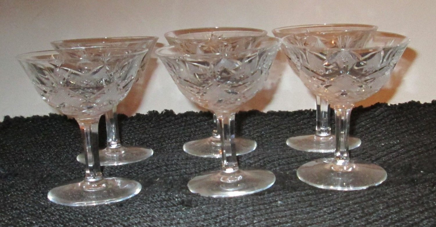 "6 OCTAGON SQUARE STEMWARE LEAD CRYSTAL CORDIAL LIQUOR WINE GLASS 3 5/8"" GERMAN"