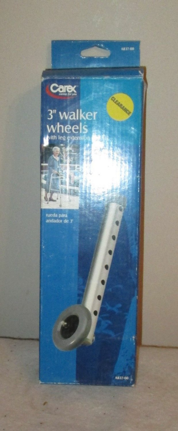 """CAREX 3"""" WALKER WHEELS WITH LEG EXTENSION (1 PAIR) A837-00 NEW IN BOX"""