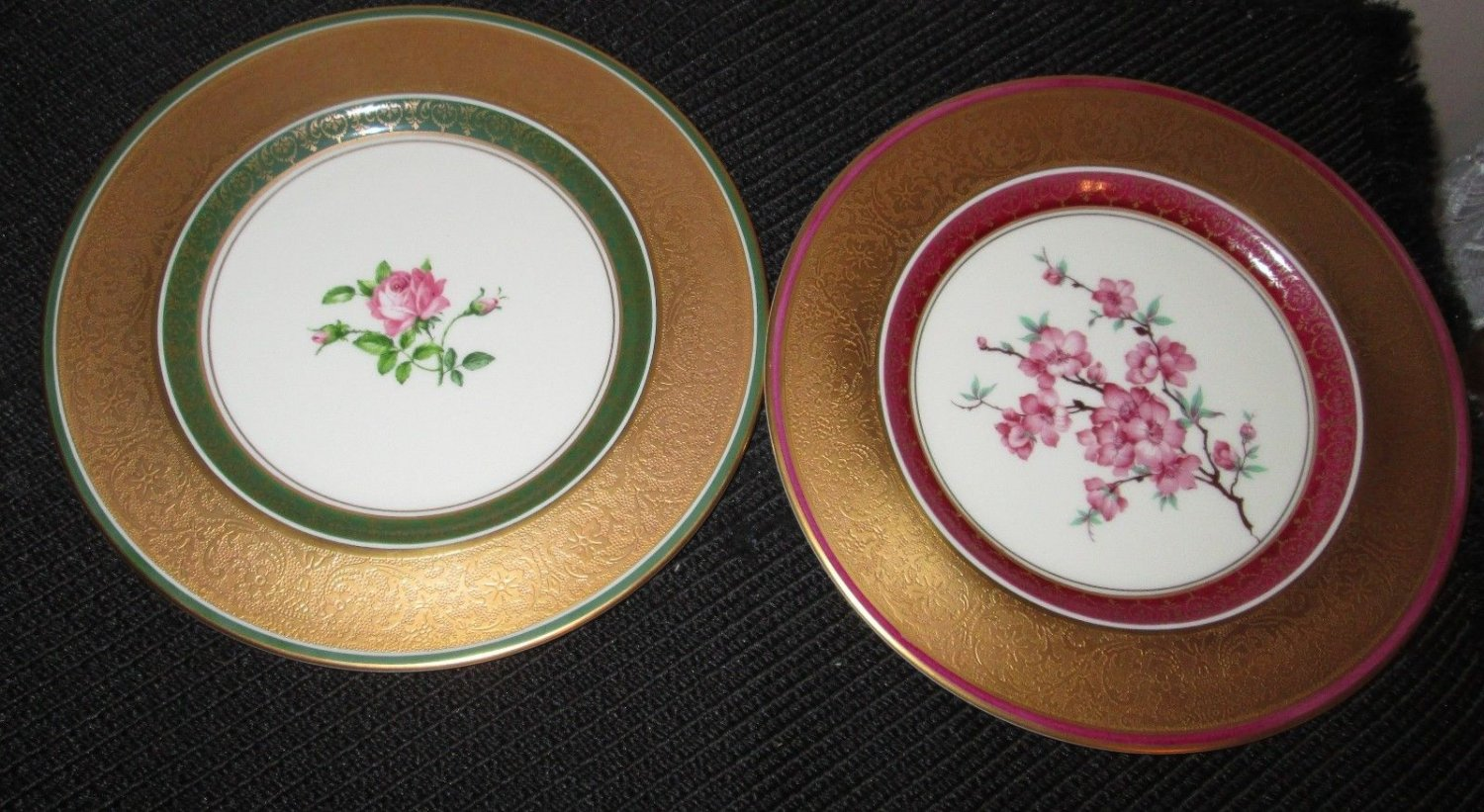 (2) COLLECTIBLE PICKARD STUDIO CHINA  GOLD HAND PAINTED DECORATED PLATE SIGNED