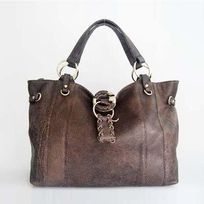 Gucci Calfskin Brown Leather Shoulder Bag w/O-ring Detail