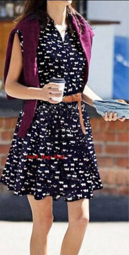 2015 Summer Women Casual EUROPE Style CAT Footprint Dresses Fashion Sleeveless