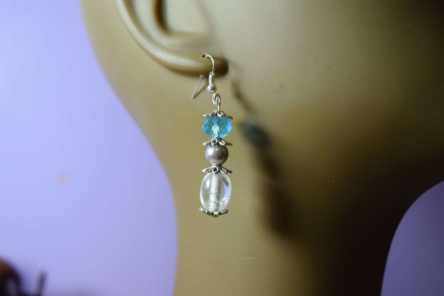 Clear and blue earrings