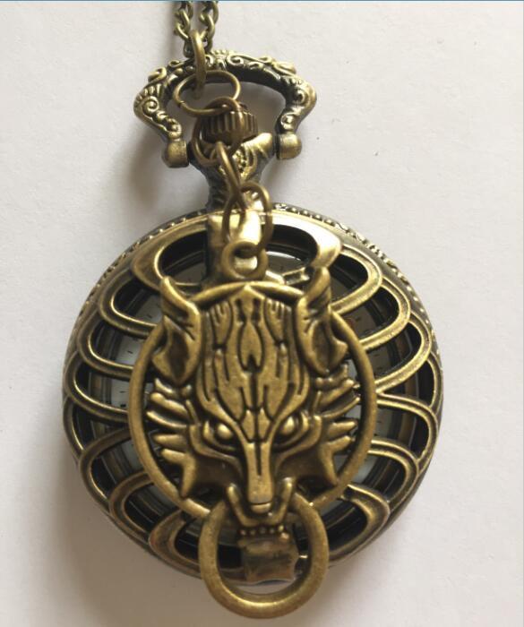 Personalized Quartz Bronze Wolf Pocket Watch Necklace Steam Punk