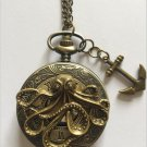 Personalized Quartz Bronze Octopus Pocket Watch Necklace Steam Punk