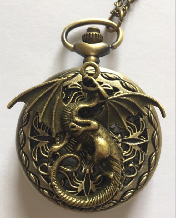 Personalized Quartz Bronze Dragon Pocket Watch Necklace Steam Punk