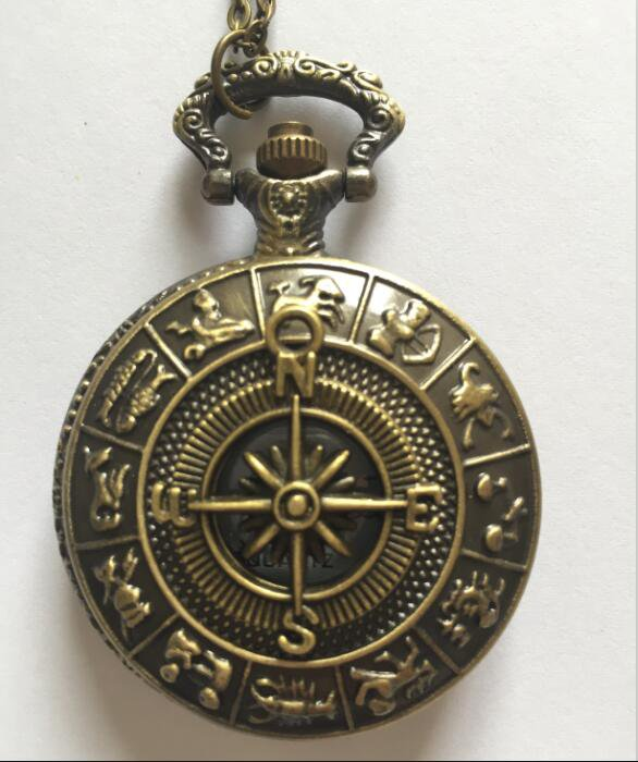 Personalized Quartz Bronze Compass Pocket Watch Necklace Steam Punk