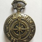 Personalized Quartz Bronze Compass Pocket Watch Necklace Steam Punk