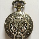 Personalized Quartz Bronze Wolf Pocket Watch Necklace 12 Constellations Steam Punk