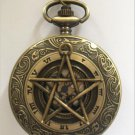 Personalized Quartz Bronze Five-Pointed Star Pocket Watch Necklace Steam Punk