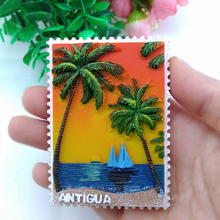 3D Resin World Tourism Souvenir Fridge Magnet - Antigua
