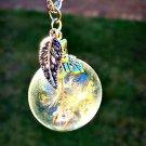 Sterling Silver Dandelion Leaf Necklace - Real Dandelion Flower Seed Jewelry