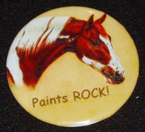 "Horse badge, pin ""Paints ROCK""  H 0008"