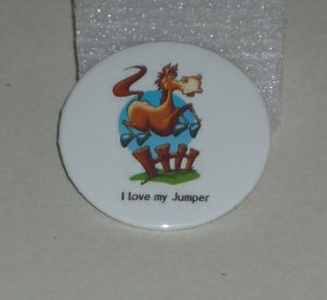 """""""I love my Jumper"""", jumping horse on badge,  H 0005"""