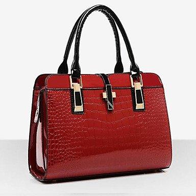 VUITTON ® Women Patent Leather Flap Shoulder Bag / Tote - Beige / Blue / Black / Burgundy #04504049