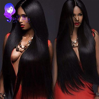 16 Inch Brazilian Silky Straight Human Hair Lace Frontal Wig Adjustable Cap Hair