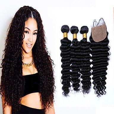 7A Grade Unpressed Brazilian Deep Wave With Closure Brazilian Curly Virgin Hair Bundles