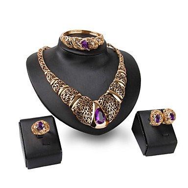 XIXI 18K Gold Plated Choker Chunky Statement Necklace Jewelry Set