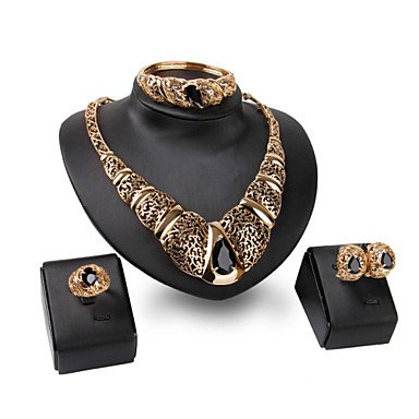 XIXI 18K Gold Plated Choker Chunky Statement Necklace Jewelry Set