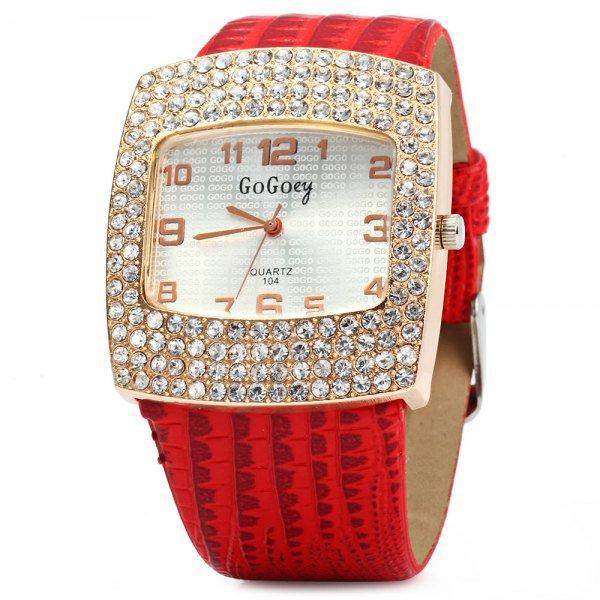 Gogoey 104 Women Rhinestone Quartz Watch Rectangle Dial Leatehr Band
