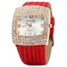 Gogoey 104 Women Rhinestone Quartz Watch Rectangle Dial Leatehr Band