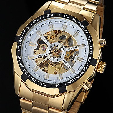 FORSINING® Men�s Automatic Mechanical Hollow Dial Gold Steel Band Wrist Watch (Assorted Colors)