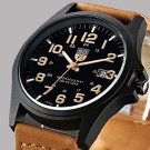 Fashion Leisure Men's Watch Calendar Leather Black Brown Band Cool Watch Unique Watch #02892719