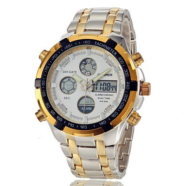 Men�s Multifunctional Analog-Digital Full Steel Band Wrist Watch (Assorted Colors)