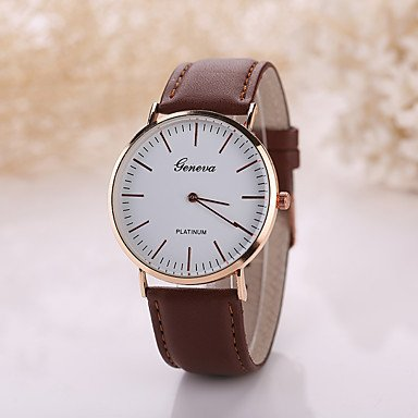 Men�s Luxury Leather Band White Case Dress Style Watch Jewelry Cool Watch Unique Watch #05002202