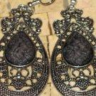 Black earrings - Black dangle earrings - Silver black earrings - Earrings black