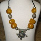 Amber Necklace with Tuareg Cross - Antique Amber Beads Cross pendant Necklace