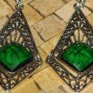 Women green earrings - Green earrings - Silver earrings - Dangle earrings - Filigree earrings