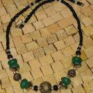 Moroccan Berber Silver Green Bead Necklace -Green Resin Necklace- Green necklace