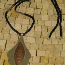 Vintage Tuareg Silver and Copper Necklace, Etched Tribal Pendant Necklace