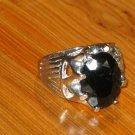 Mens silver ring black onyx-Mens black ring- Handcrafted mens ring-Black ring