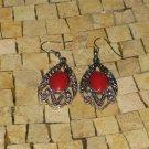 Red earrings - silver Red earrings - Red dangle earrings - Long red earrings
