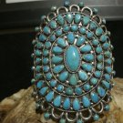 Vintage NAVAJO Silver Turquoise Cluster Cuff Bracelets by Victor Moses Begay VMB