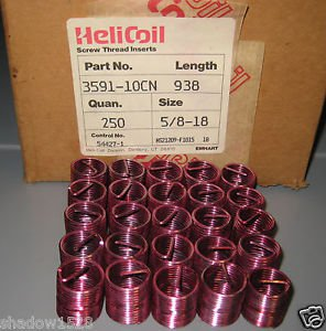 (25) Helicoil Heli-Coil 3591-10CN X .625 Thread Repair Inserts 5/8 - 18 X .938