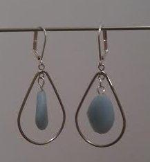 Angelite Crystal silver teardrop loop earrings
